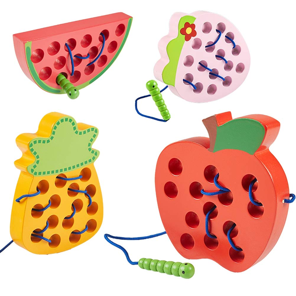 YeahiBaby Wooden Lacing Watermelon Toy Threading Toy Montessori Learning Early Development Baby Toy