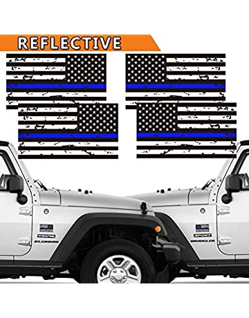 CREATRILL Reflective 2 Pairs Tattered Thin Blue Line Reverse Forward US Flag Decal Stickers for Cars