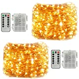 2 Pack Fairy String Lights, Battery Operated Waterproof 8 Modes Remote Control 60 LED String Lights 20 Feet Copper Wire Firefly lights for Bedroomty Wedding Indoor Bedroom (Battery powered warm white)