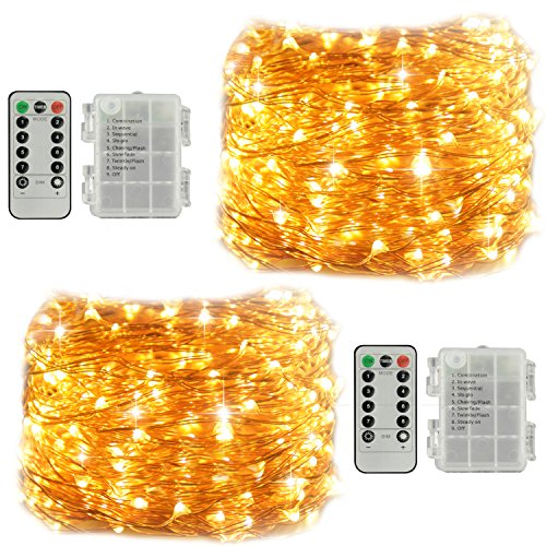 2 Pack Fairy String Lights, Battery Operated Waterproof 8 Modes Remote Control 60 LED String Lights 20 Feet Copper Wire Firefly lights for Bedroomty Wedding Indoor Bedroom (Battery powered warm white) by LiyuanQ