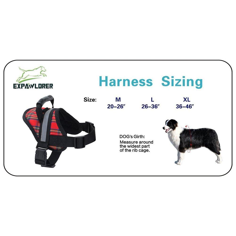 EXPAWLORER Big Dog Soft Reflective No Pull Plaid Harness Size M 20-26inch by EXPAWLORER (Image #3)