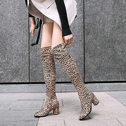 Stampa Punta Con Cerniera Da Tacco A Stivali Alto Donna Invernali Yellow Neve Lunga Caldi scarpe Leopardo OqtOEw8