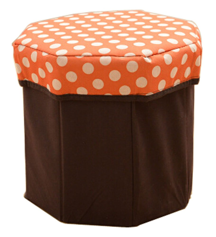 Blancho Storage Ottoman Collapsible Foldable Foot Rest Round Storag Ottoman ORANGE Blancho Bedding