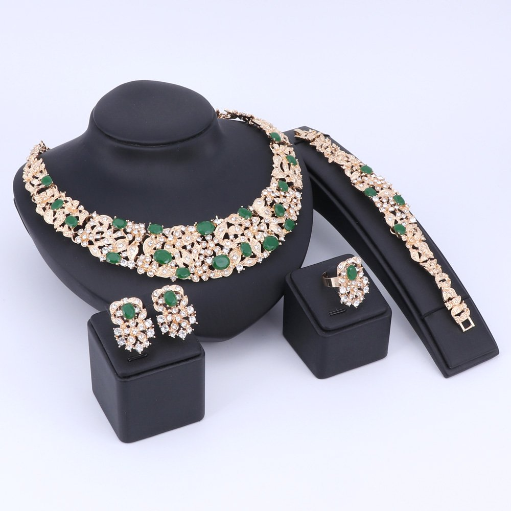 Women Bridal Fine Crystal African Beads Jewelry Sets For Wedding Party Dinner Dress Necklace Earring Bangle Ring Kit Gift (Green) by WANG (Image #9)