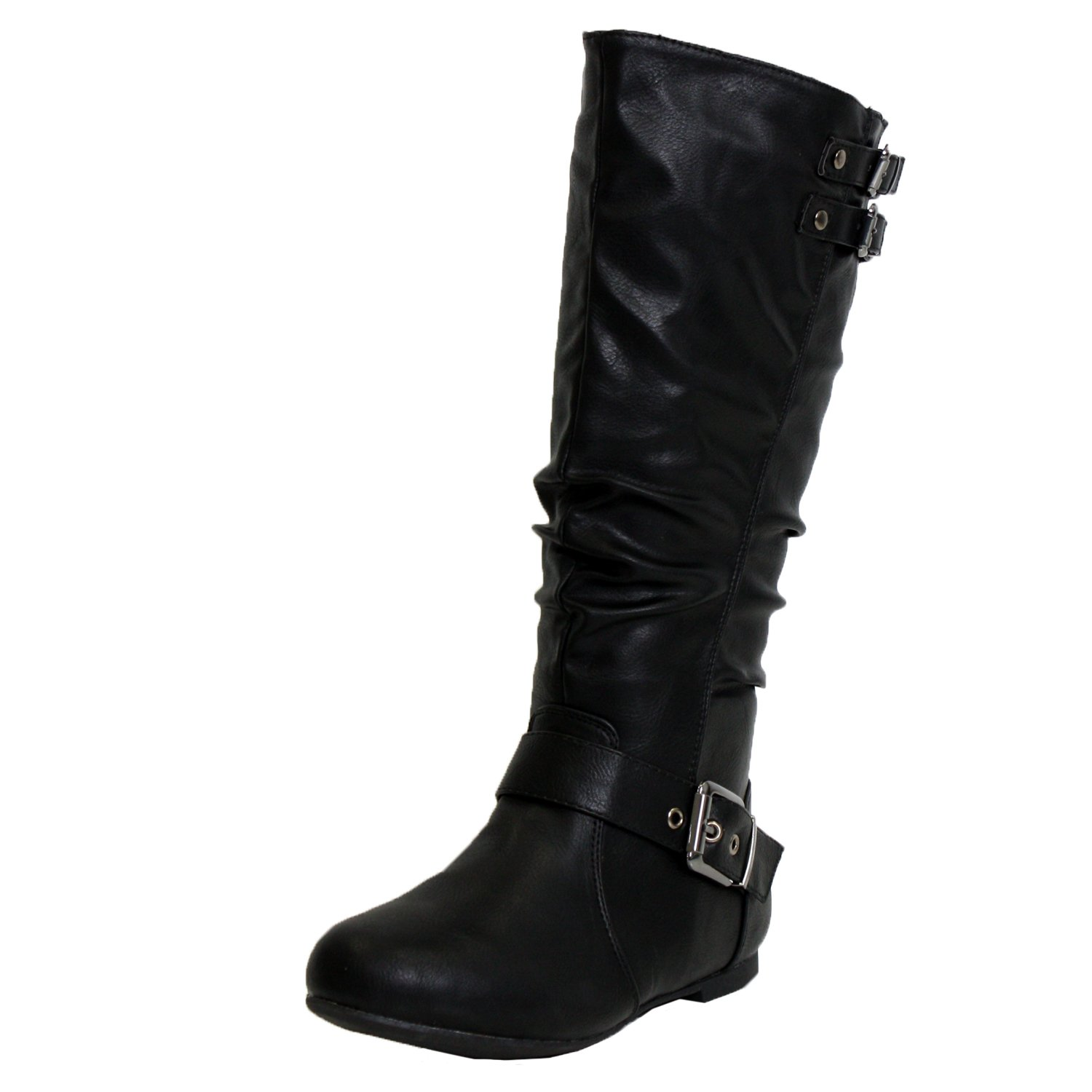 Top Moda Night-76 Women's Slouched Under Knee High Flat Boots, Black, 8.5