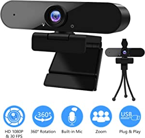 [Upgraded] 1080P Webcam with Microphone & Privacy Cover-GOKOCO 360 Degree Rotation USB Webcam Plug and Play, Streaming Webcam for PC/Desktop/Laptop, Video Conferencing, Teaching,Recording, and Gaming