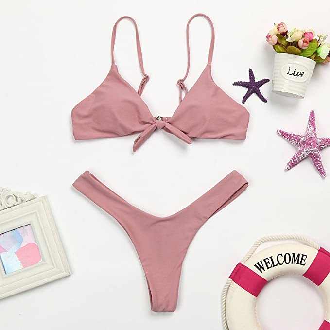 Mujeres Carta Vendaje Cintura Alta Triángulo Bikini Flores ...