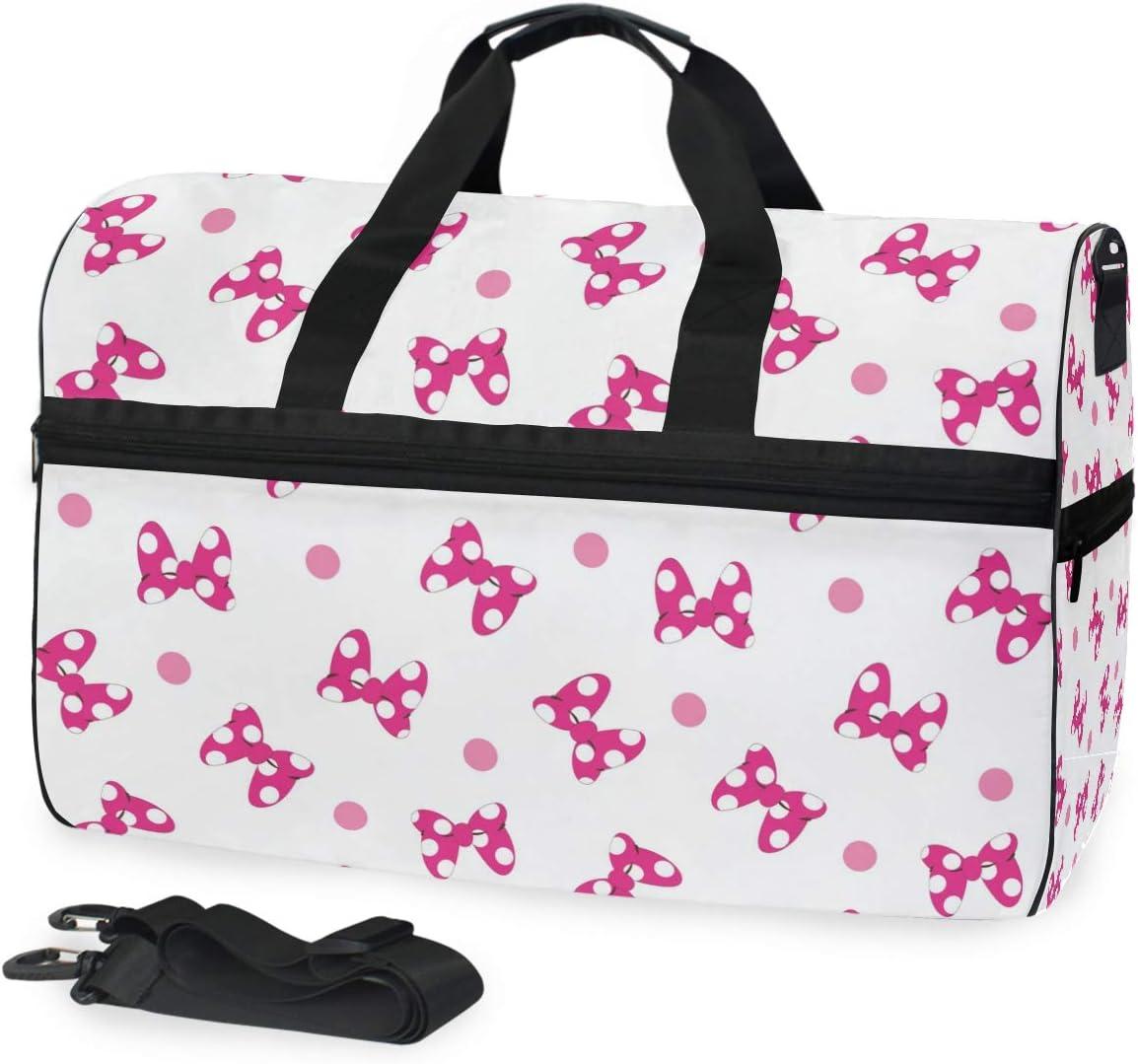 MALPLENA Bow Tie Print Packable Duffle Bag For Men Women Tear Resistant Sports Duffle