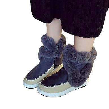 Geili Damen Stiefeletten Halbschaft Stiefel Pumps Warme Fell Gefüttert  Winterstiefel Schneestiefel Frauen Plüsch Schlüpfen Boots Wildleder Stiefel  Flach ... bd199a7dde