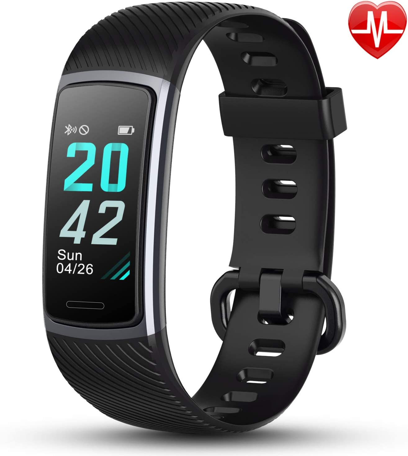 LETSCOM Fitness Tracker HR, Activity Tracker Watch with Heart Rate Monitor, Step and Calorie Counter, Screen IP68 Waterproof Pedometer Watch for Kids Women and Men