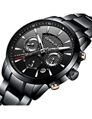 CRRJU Brand Mens Business Casual Chronograph Quartz Waterproof WristWatch Black Stainless Steel Strap