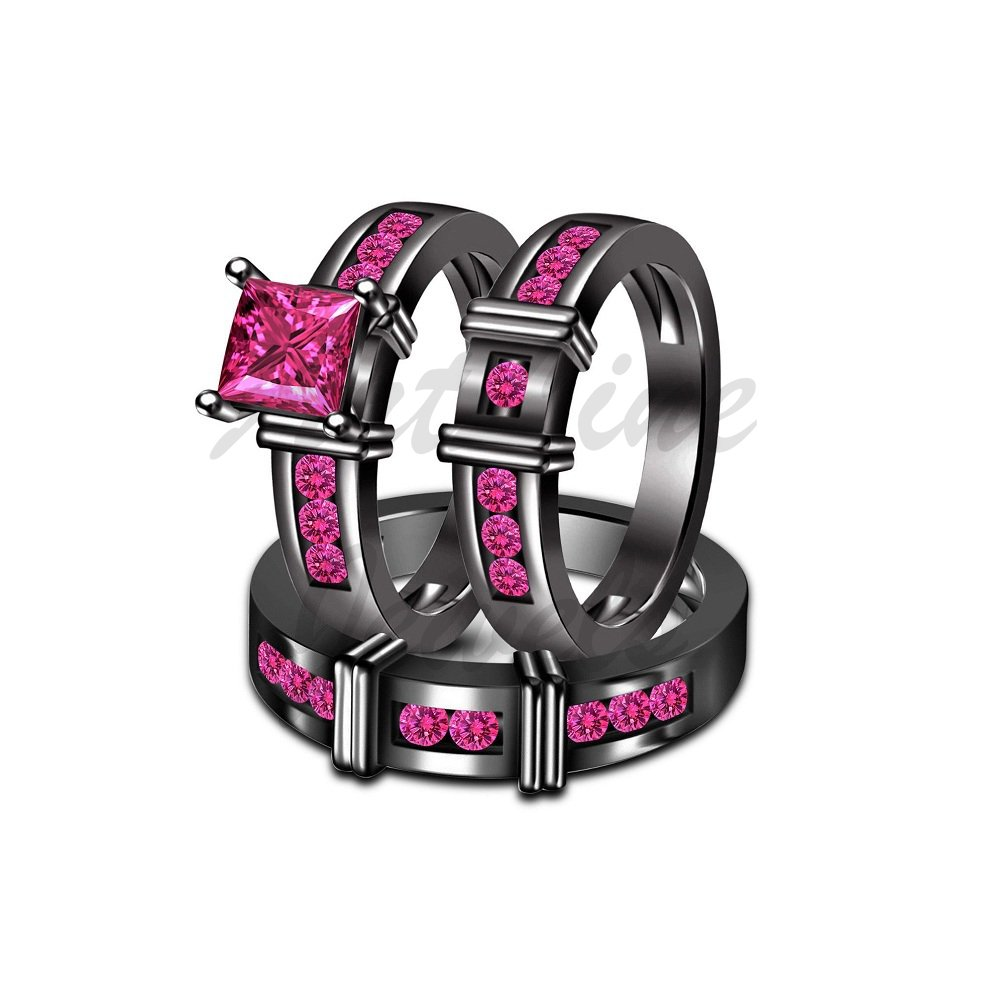 ArtLine Jewels His & Her 14K Black Gold Princess & Round Cut Pink Sapphire Wedding 3pcs Trio Ring Set by ArtLine Jewels (Image #1)