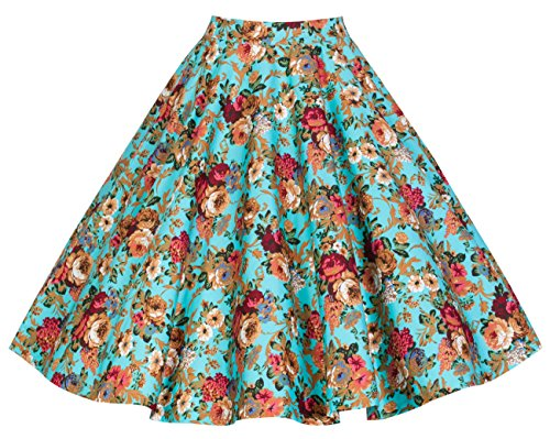 Lindy Bop 'Peggy' Vintage 50's Style Floral Full Circle Skirt (L, Turquoise)