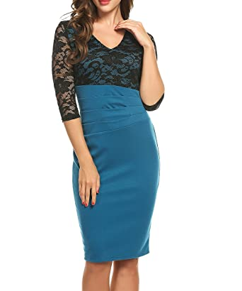 e72a2510fcb Image Unavailable. Image not available for. Color  ACEVOG Women s Deep V  Neck 2 3 Sleeve Wear to Work Cocktail Party Pencil Dress