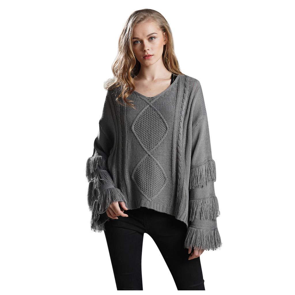 Shusuen Women's Knitwear Pullover V Neck Flared Tassel Sleeve Side Slit Knit Cable Sweater Gray by Shusuen_Clothes