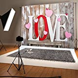 7x5ft (210x150cm) Gray Wood Wall Photo Studio Background Pink Love Valentine Photography Backdrop No Wrinkles for Children Studio