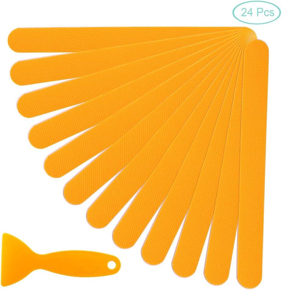 WANDIC Adesivi con Striscia Antiscivolo Verde 24 pz Autoadesiva Adesivi da Bagno Pedate Doccia Strutturate di Sicurezza Adesivi per Vasca da Bagno per Doccia con Raschietto