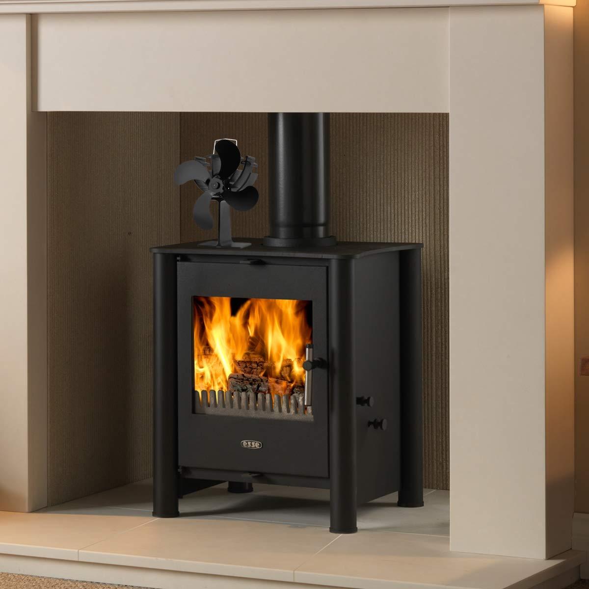 Ventilador de la estufa de la estufa del ventilador de 4 láminas de calor para la chimenea de madera, hornilla del registro, ultra operación silenciosa 4 ...