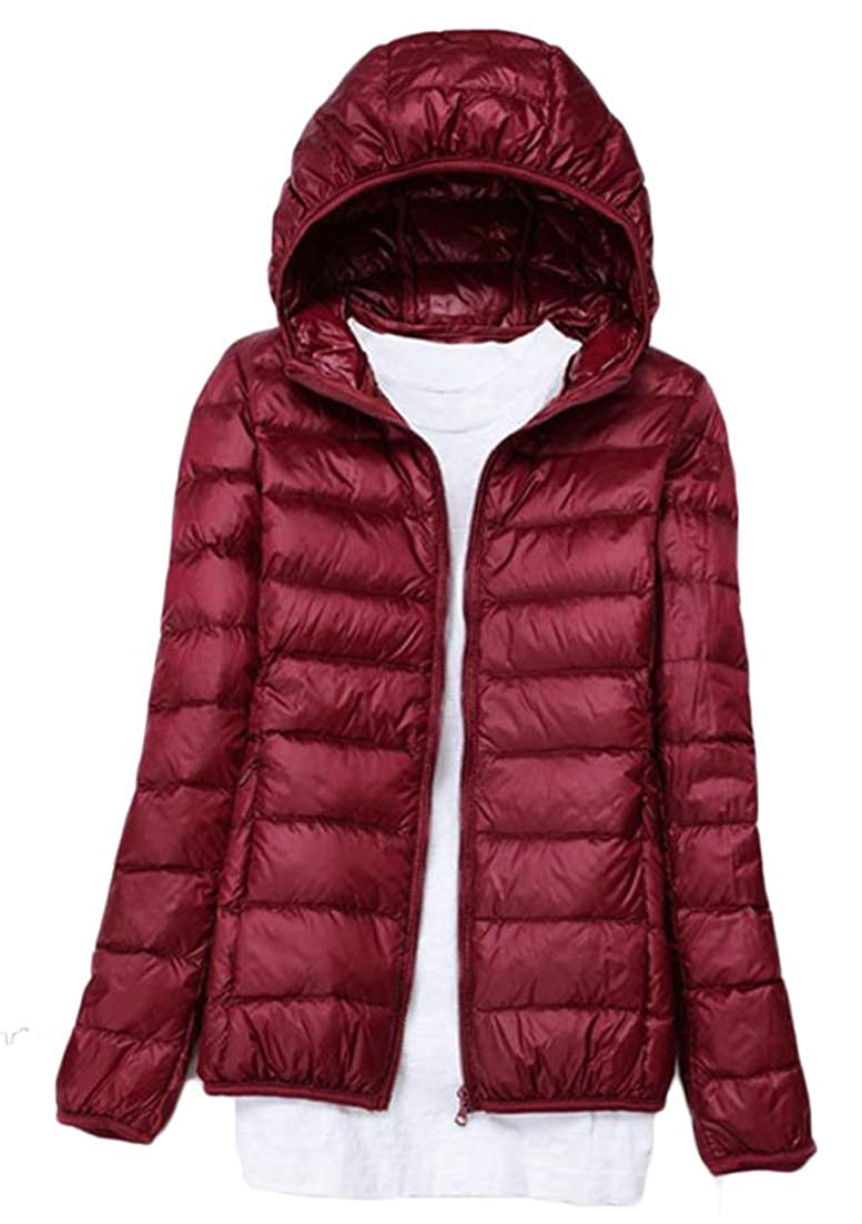 Wine Red Etecredpow Women's Leisure Outer Classical Long Sleeve Solid color Quilted Hooded Light Down Coat