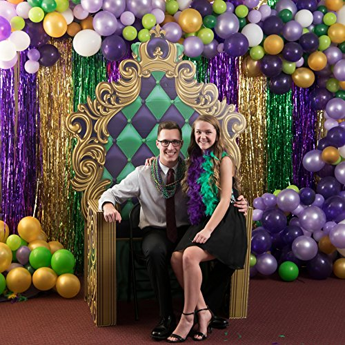 6 ft. 10 in. Masquerade Mardi Gras King's Throne Standup Photo Booth Prop Background Backdrop Party Decoration Decor Scene Setter Cardboard Cutout (Queen Gras Mardi)