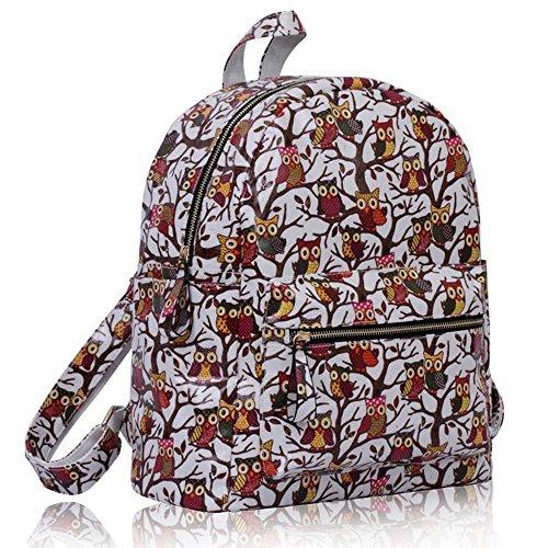 TrendStar - Bolso mochila  para mujer rojo E - Red B - White