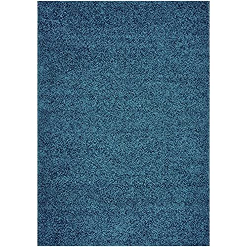Cool Home Solid Colors Wind Dancer Collection Area Rugs Petrol, Blue