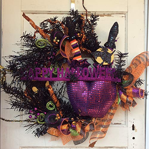 AGD Halloween Decor - Witch Butts Grapevine Metallic Pine XXL Wreath]()