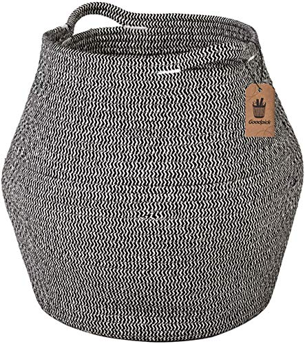 Goodpick Cotton Rope Storage Basket Woven Baby Laundry Basket for Storage, Plant Pot, Beach Bag, and Kids