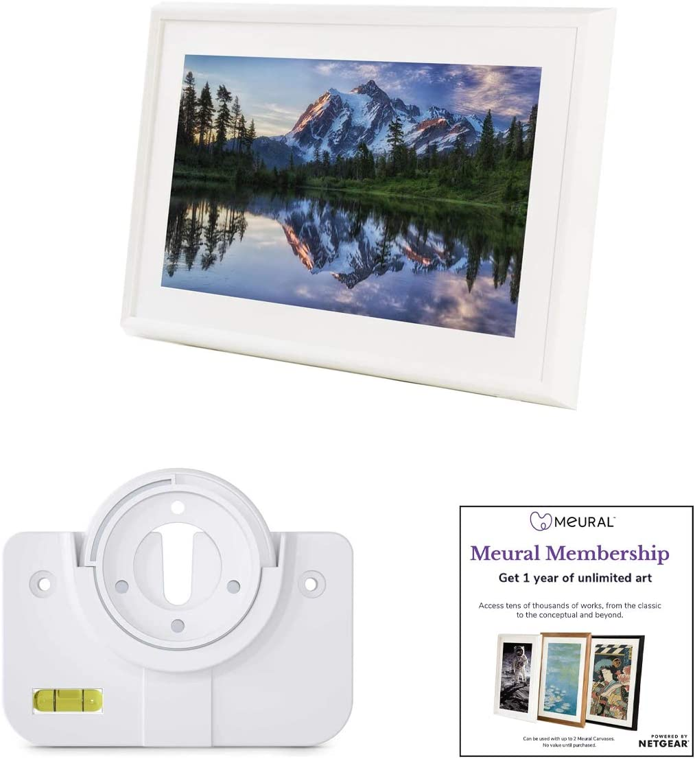 Meural Canvas – Smart Digital Photo Frame – Art Display Leonora White Swivel Wall Mount 27 inch HD Display with WiFi Smart Home Compatible Includes One-Year Membership to Art Library