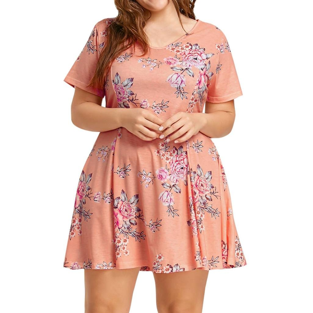 Victorcn Plus Size Women Short Sleeve O Neck Floral Printed Beach Evening Party Dress (3XL)