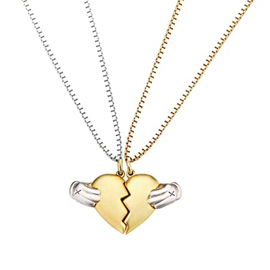 744dee24fe Amazon.com: Airgolf Couple Necklaces Pendant Love Heart for Him and Her, 18K  Gold Plated Couple Pendant Box Chain Necklace His & Hers Heartbreak Puzzle  ...