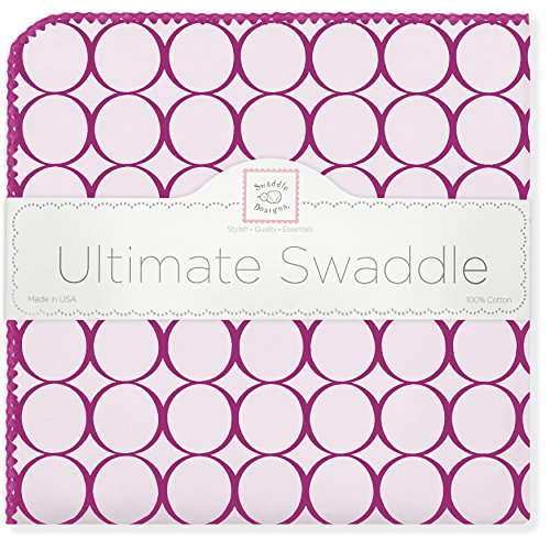 SwaddleDesigns Ultimate Swaddle, X-Large Receiving Blanket, Made in USA Premium Cotton Flannel, Very Berry Jewel Tone Mod Circles (Mom's Choice Award -
