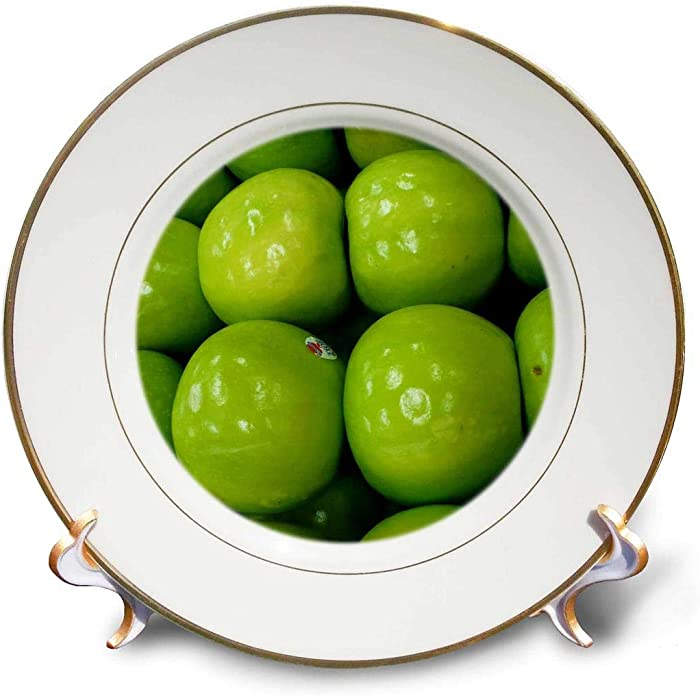 3dRose cp_7763_1 Green Apples-Porcelain Plate, 8-Inch