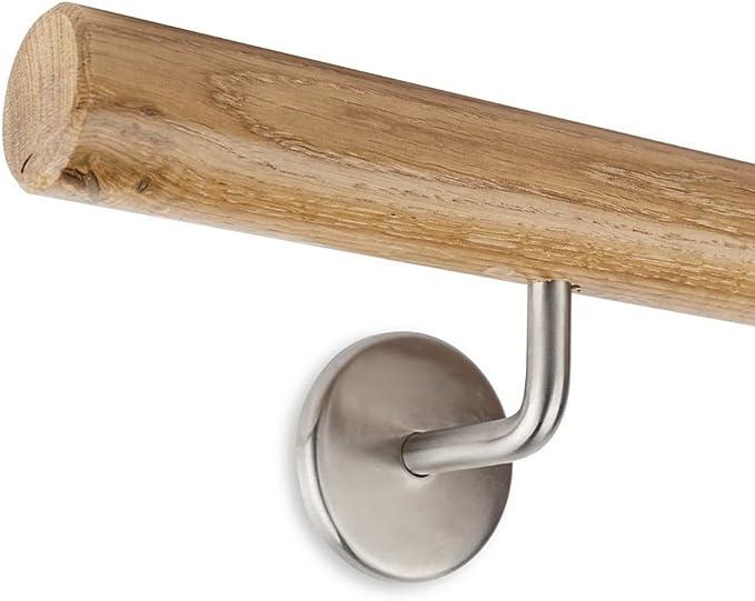 Enden = gefast L/änge 30-500 cm aus einem St/ück//zum Beispiel L/änge 120 cm mit 2 Halter Eiche Gel/änder Handlauf Set Bausatz mit gewinkelte Halter verschiedene Endst/ücke