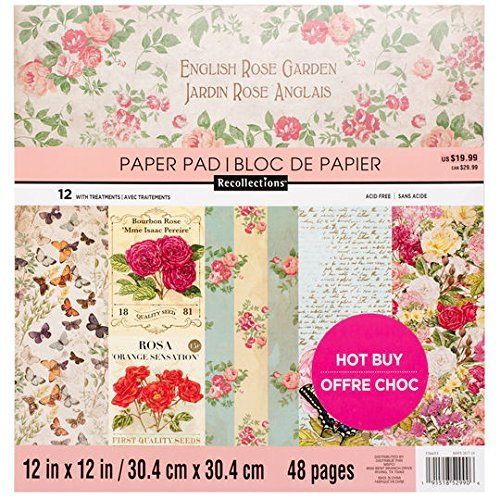 Craft Smith ENGLISH ROSE GARDEN Paper Pad 48 Printed Sheets 12 x 12 Scrapbook by Craft Smith