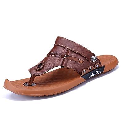 snfgoij Sandales pour Hommes Réglable Sports De Plein Air Chaussures De Plage Confortables Été Ouvert Bout Ouvert en Cuir Casual Respirant Anti-Dérapant,DarkBrown-42