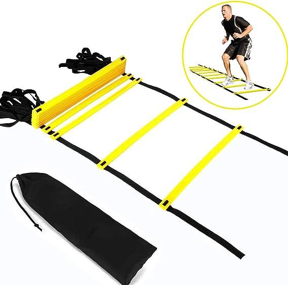 Escalera de Coordinación de 6m 12 peldaños con bolsa y clavijas,Escalera de agilidad Escalera de velocidad,Ajustables Escalera de Entrenamiento Duraderas para Fútbol, Fitness, Deportes, Balonmano: Amazon.es: Deportes y aire libre