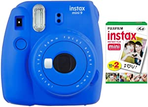Fujifilm instax Mini 9 Instant Camera (Cobalt Blue) with Film Twin Pack Bundle (2 Items)