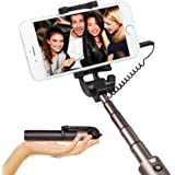 Selfie Stick Portable Extendable Monopod - Luxsure Universal Wired Handheld Portrait Taker for iPhone 8/7/7+/6s/6/6 Plus, Samsung Galaxy S7/S6/Edge, Batteries FREE, No APP, No Pairing (Black)
