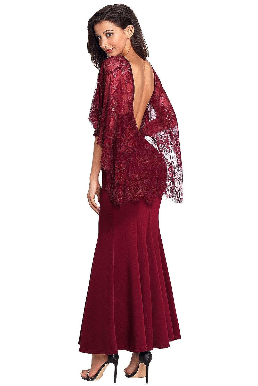 FUSENFENG Womens Evening Dress Lace V Neck Open Back Cape Sleeve Wedding Maxi Dress - -: Amazon.co.uk: Clothing