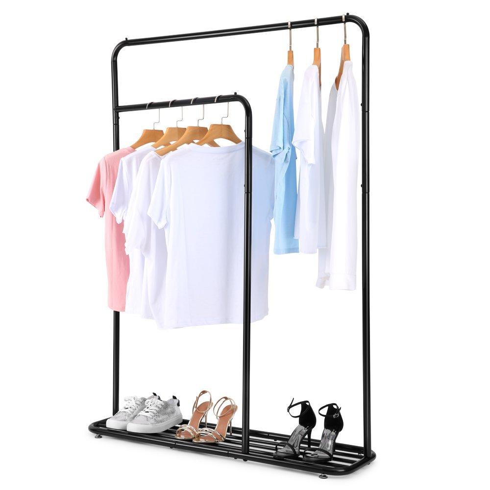 Cozzine Heavy Duty Garment Rack, Double Rail Adjustable Clothing Rack Laundry Drying Rack, Matt Finish