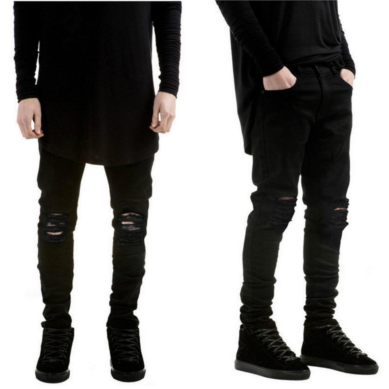 Men's Slim Fit Black Stretch Destroyed Ripped Skinny Denim Jeans ...