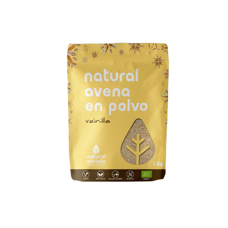 Harina de Avena Integral de Vainilla - Natural Athlete - 100% Natural - BIO - Sin Gluten - Sin Lactosa - Vegana - Sin Azúcar Añadido. 1Kg