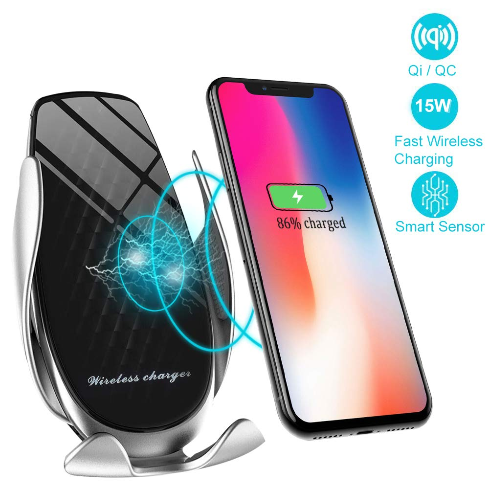 Wireless Car Charger Holder, IR Intelligent Sensing Auto Clamping 15W Fast Charging,Car Air Vent Phone Holder for iPhone 8 8Plus X XR XS Samsung S6 S7 S8 S9 and More (Black&Silver) by itkidboy