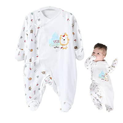 COBROO Baby Footies Pajamas Lion Pattern Cotton Spring Infant Unisex Baby Clothing Jumpsuit with Socks AntiGrab Protection
