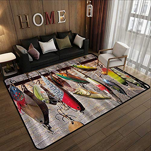 Bath Rugs for Bathroom,Fishing,Lure Rods Fisherman Gifts Special Impressive Design for Fisherman Creative Exceptional,Taupe Yellow Red Green Na 59