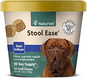 NaturVet – Stool Ease for Dogs – 40 Soft Chews – Helps Maintain Regular Bowel Movements – Enhanced with Sugar Beet Pulp, Flaxseed & Psyllium Husk – 40 Day Supply