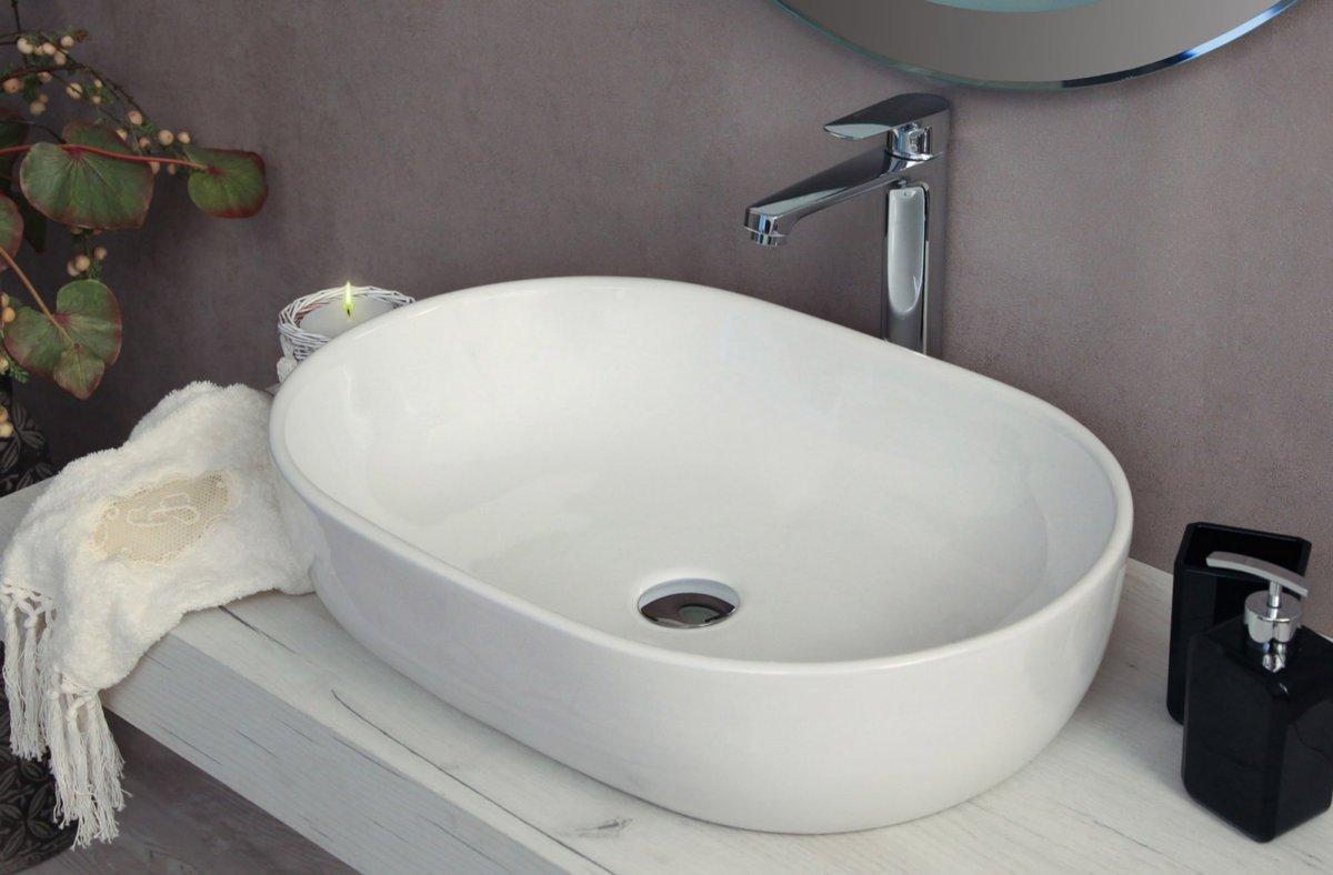 Lavabo da appoggio moderno in ceramica bianco 59x42x14,5cm OPPER