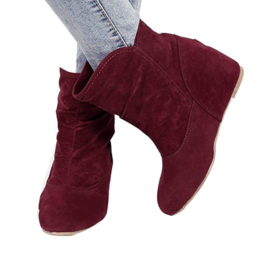 c57bb569ffd2 Amazon.com  Increased Wedge Heel Boots Baigoods Women Booties Wedge ...
