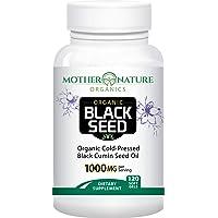 Organic Black Seed Oil 1000mg - 120 Softgel Capsules (Non-GMO) Premium Cold-Pressed...